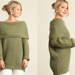 Umgee Chunky Foldover Knit Olive Green Sweater Top
